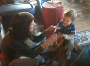 Aunt Gail plays with Jonas in the attic.